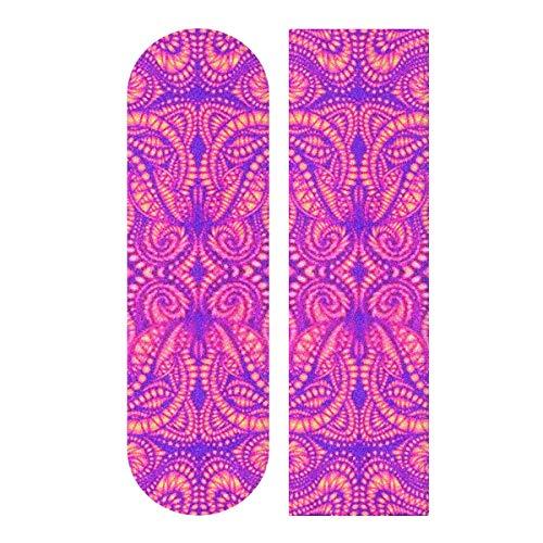 YYJH Tape Skateboard Sticker, Vintage Psychedelic Trippy Colorful Fractal Pattern 33.1'x9.1' Skateboard Longboard Dancing Board Waterproof Diamond Griptape Sheet Sticker Deck Sandpaper