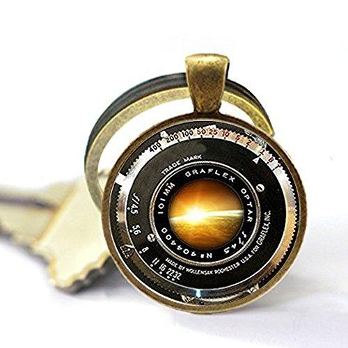 qws Vintage Kameraobjektiv Ornament Antik Kamera Objektiv Schlüsselanhänger Grau Schwarz Weiß Fotografie Schlüsselanhänger Fotografen Sonnenaufgang Kein tatsächliches Objektiv