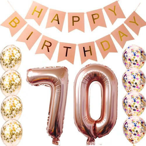 70th Birthday Decorations Party Supplies Balloons Rose Gold70th Banner