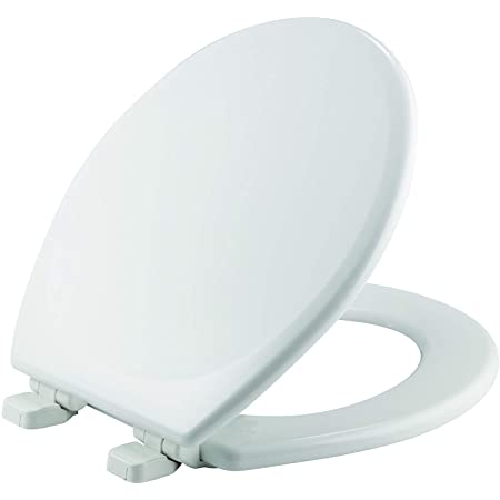 White New MAYFAIR 13EC 000 Soft Toilet Seat Easily Removes ROUND Padded with Wood Core