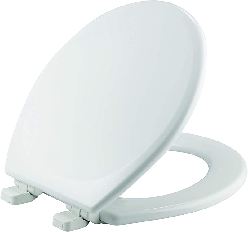 MAYFAIR Toilet Seat Will Slow Close And Never Loosen ROUND Durable Enameled Wood White 43SLOW