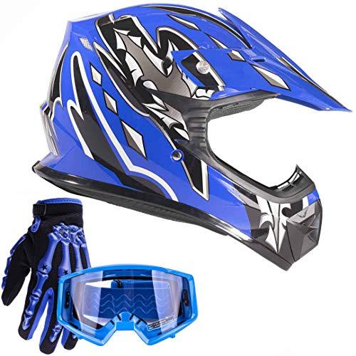 Typhoon Youth Kids Offroad Gear Combo Helmet Gloves Goggles DOT Motocross ATV Dirt Bike MX Motorcycle Blue, X-Large