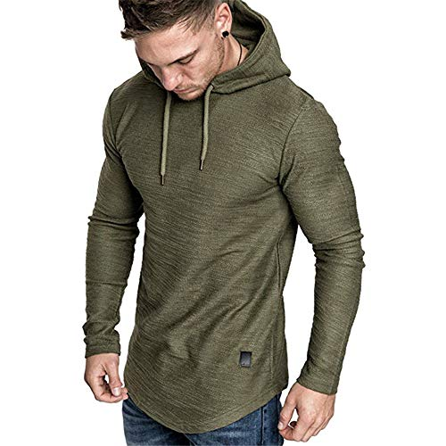SHERUPOO Mens Workout Hoodie Gym Muscle Sweatshirt Athletic Hooded Long Sleeve Sweater Sports Training Green 2XL