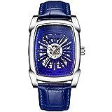 Nuevo Reloj mecánico Creativa Huecos de los Hombres Reloj mecánico automático, Luminoso Cuero Resistente al Agua Reloj de los Hombres de Las Personas Que corren (Color : White Shell Blue Noodles)
