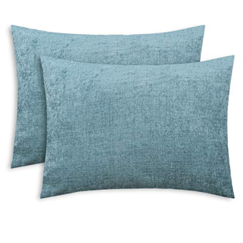 CaliTime Pack of 2 Cozy Standard Pillow Shams Cases for Bed Bedding Decoration Solid Dyed Soft Chenille 20 X 26 Inches Smoke Blue