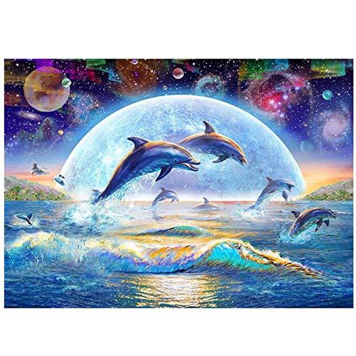 Home Wand-Decor 5D Diamant Malerei nach Zahlen Kit, Diamantmalerei Kits für Erwachsene Kreuzstich Kunst Handwerk Leinwand Delphin ,Pferde am Meer,Wölfe,Doppelpfau Strass Stickerei Painting