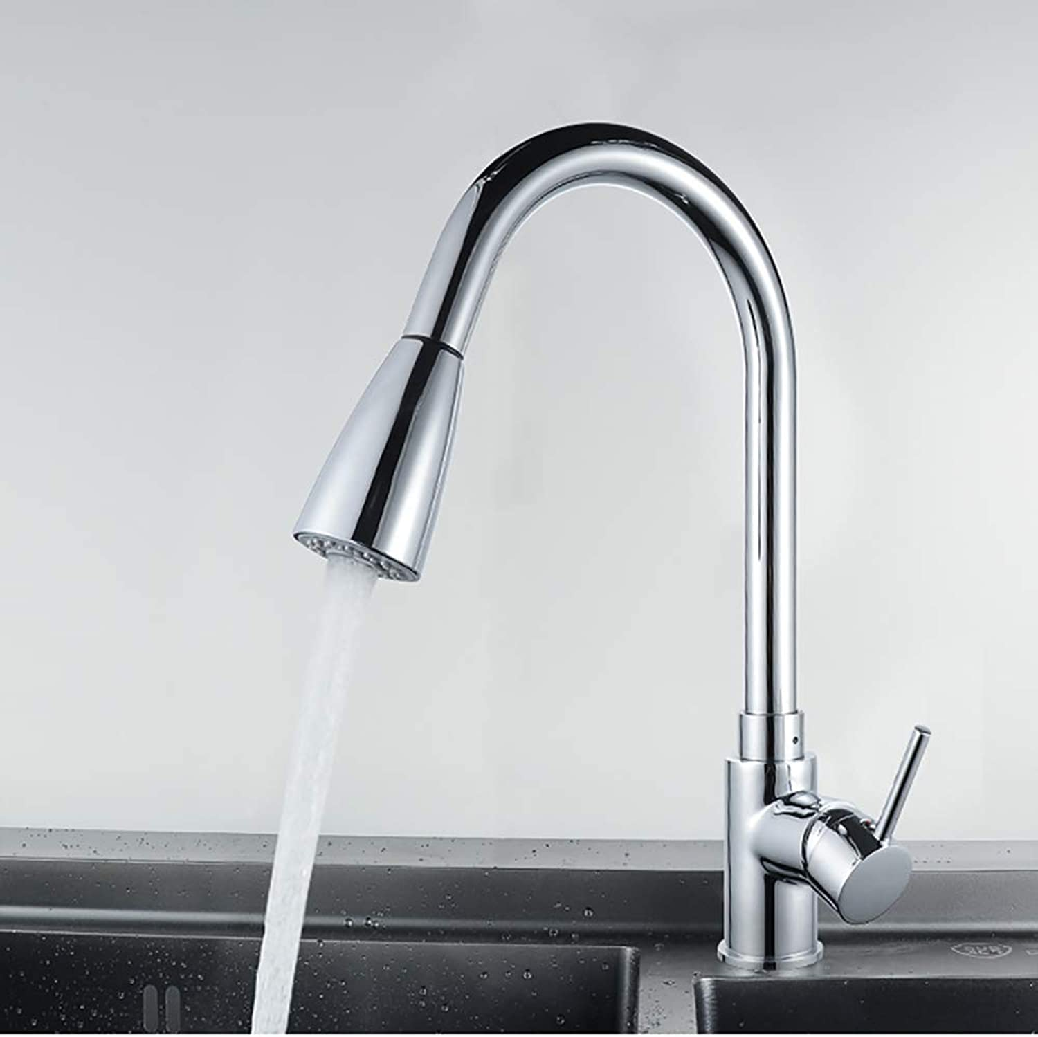 Chrome-plated copper kitchen sink faucet Pulling hot and cold sink faucet