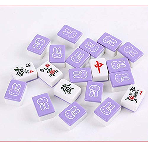 Riyyow Mini 28mm Mahjong Mahjong Set Sammeln von Party Spiel Traditionelles Spiel mit Mini Tisch Unterhaltung Mini Mahjong (Color : Purple, Size : 28mm)
