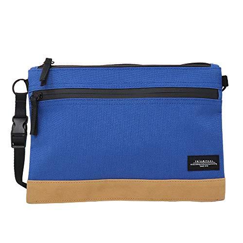 【TRIUMPHAL】 サコッシュ バッグ メンズ レディース 多機能 アウトドア トラベル バッグ ナイロン 無地(ブルー)tmps-003