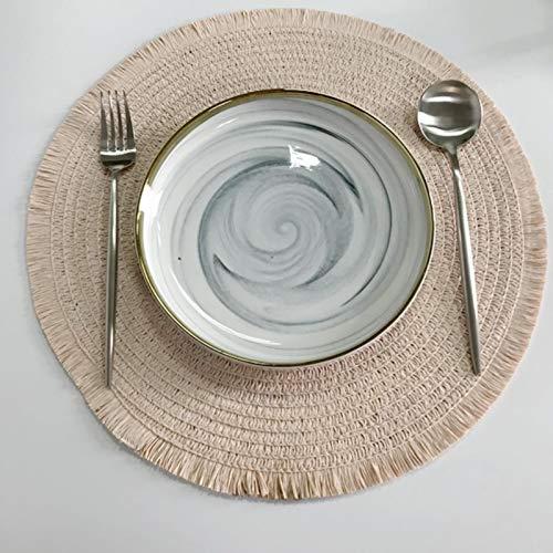 WJYULGY 1 unids aislamiento térmico mesa de comedor Mat 38 cm redondo delicado bordado postre Pan mesa mantel mantel antideslizante taza de café esteras
