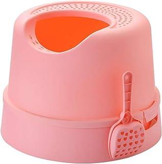 猫用トイレ本体 ごみのこぼれを防止するためのフード付きのサイクリング猫用トイレ砂トレイボックス 適当な容量、快適に使える (色 : ピンク, サイズ : 47*47*35cm)