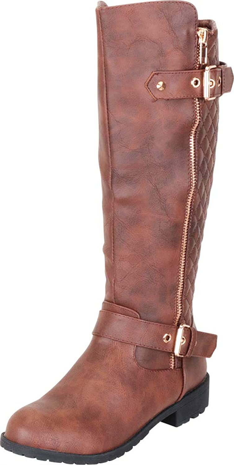 Cambridge Select Women's Quilted Strappy Buckle Low Heel Mid-Calf Riding Boot