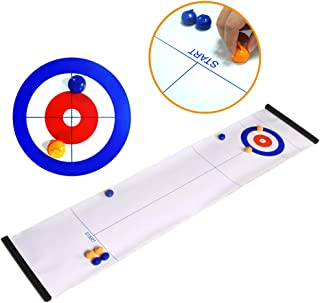 Tabletop Curling Game and Family Fun Board Games Shuffleboard Pucks with 8 Rolllers Gifts for Kids and Adults Travel Compact Storage