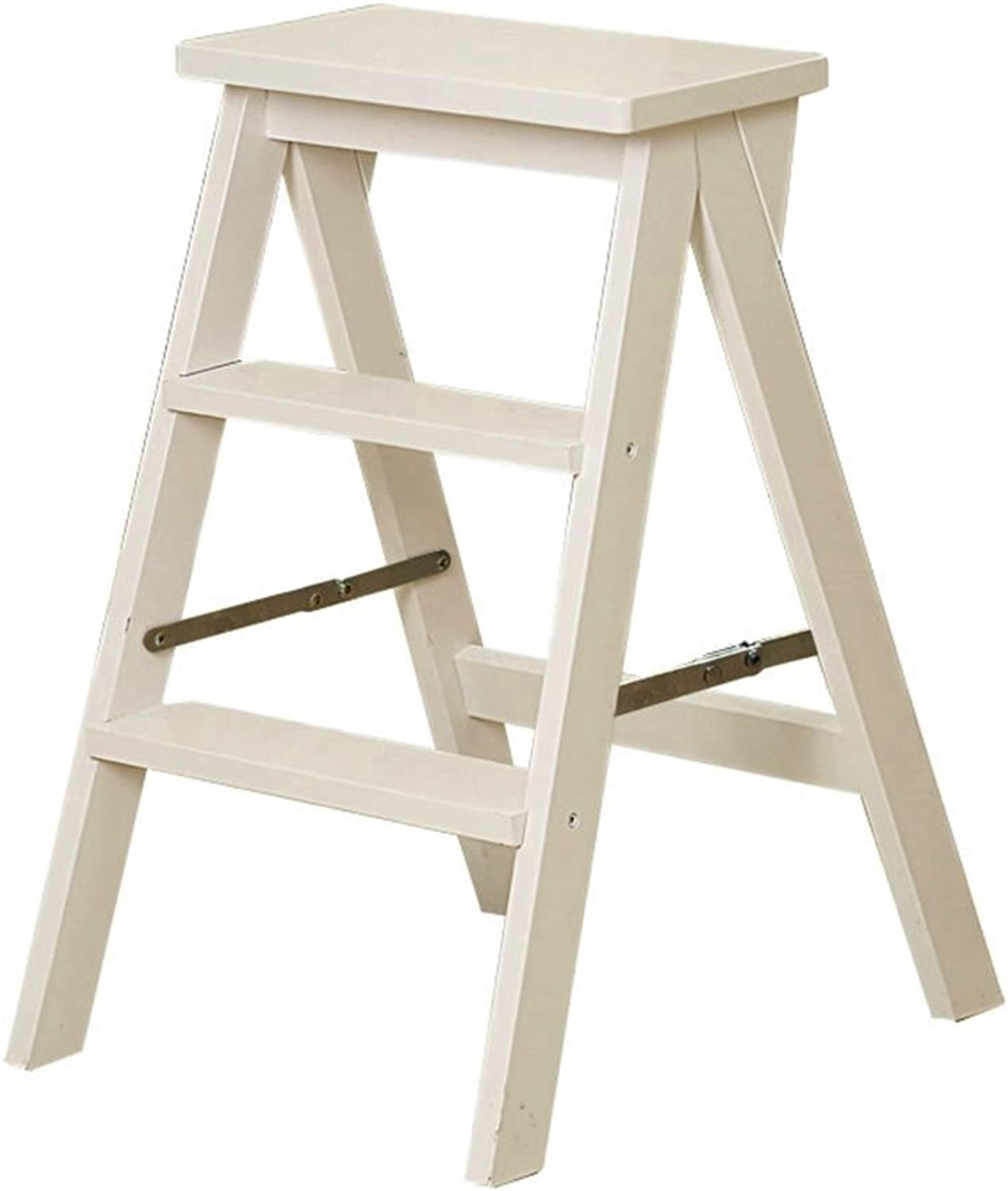 Stool and Kitchen Chair Creative Staircase Stool Multifunctional Folding Ladder Solid Wood Household Ladder Stool Indoor Mobile Climbing Ladder Home Multi-Function Rack