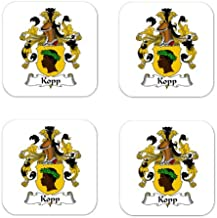 Kopp Family Crest Square Coasters Coat of Arms Coasters - Set of 4