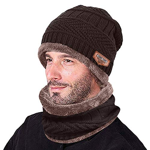 Shinehua heren dames winter muts en sjaal met fleece voering wintermuts gebreide muts sjaal dikke beanie sjaal set slouchy warme knit outdoor sport muts