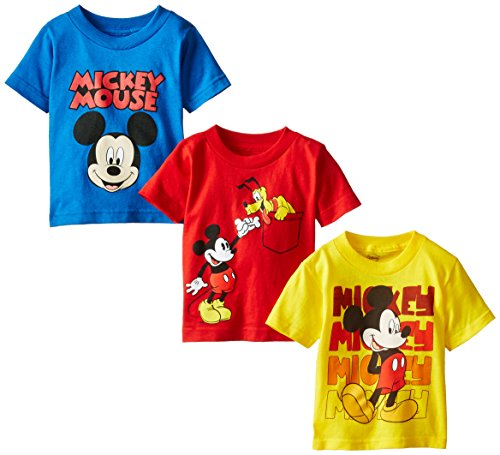Disney Little Boys' Toddler Mickey Mouse Toddler Boys T-Shirt 3-Pack No 1, Assorted 2, 4T