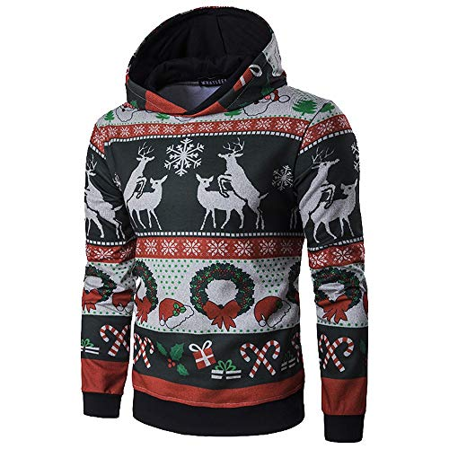 Hoodie Noël Homme Pull Renne,Overdose Hiver Manches Longues Pullover Jacquard Casual Sweatshirt Blouse
