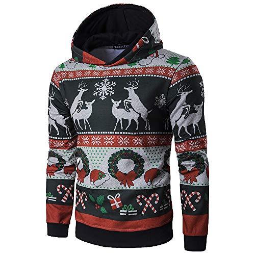 Herren Sweatshirt, GJKK Herren Herbst Winter Weihnachten Shirt Weihnachten Gedruckt Top Herren Langarm Santa Elch Schneeflocke Gedruckt Bluse Oberteile (Hoodie-Multicolor, L)