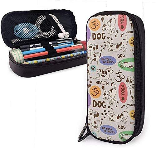 HQSL Estuche de cuero Funny Pattern Cartoon Dog Doing Yoga Leather Pencil Case,Pencil Bag Pouch with Zipper Pen Holder Nanoprint Leather Stationary Case