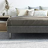 Classic Brands Claridge Upholstered Mattress Foundation | Platform Bed | Metal Frame with Wood Slat Support | Grey, Queen