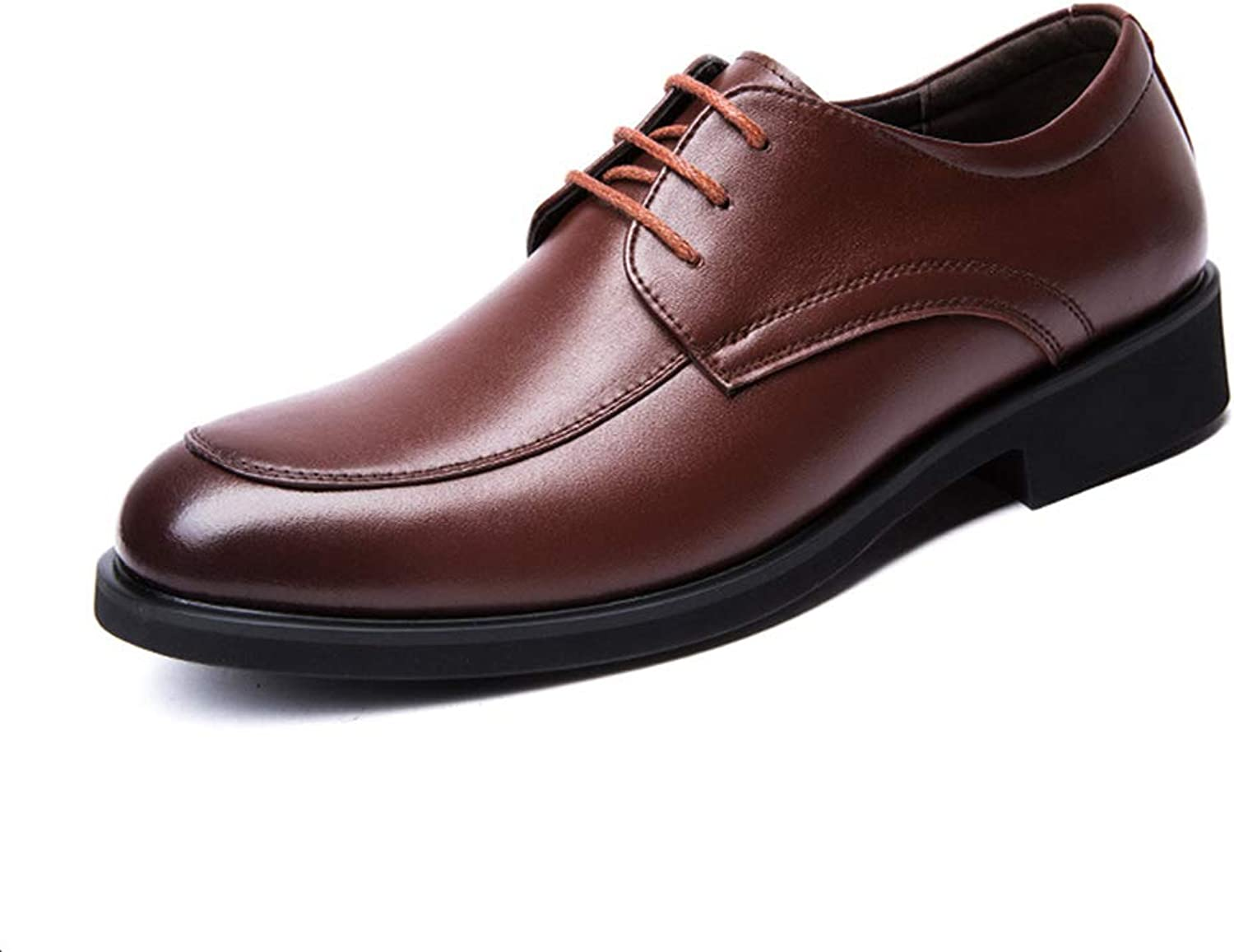 Men's shoes 2018 Spring Fall New Leather shoes Formal Business shoes Casual Wedding Prom Dress shoes,Brown,42