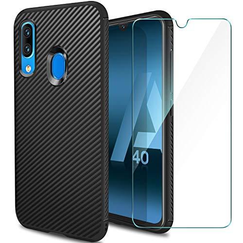 ivencase Cover Compatibile con Samsung Galaxy A40 e Pellicola Protettiva in Vetro Temperato, Custodia Silicone Slim Morbido TPU Bumper Case Antigraffi Cover - Nero