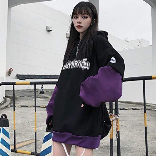 MU-PPX Sudadera con Capucha Y Estampado De Letras Streetwear Hip Hop Mujeres Unisex Linterna Mangas Sudaderas Punk Fake 2 Piezas Top con Capucha, Violeta, Asiática Talla L