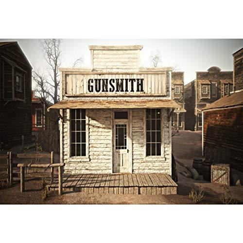 YongFoto 3x2,5m vinyl foto bakgrund västerlig cowboy grunge vit trä pistol butik vintage gammal husbyggnad Fotografi bakgrund födelsedag party fotostudio bakgrunder rekvisita