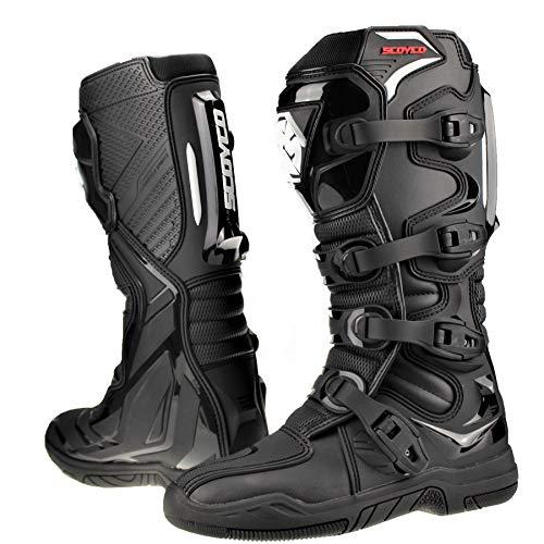 Scoyco Botas de motocross para adultos Quad Dirt Bike ATV Enduro Track Racing Off Road Sports Mx Botas en negro - EU 43   US 9.5   UK 8.5