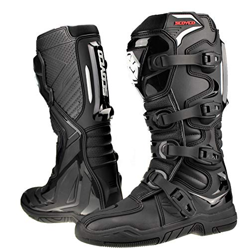 Scoyco Motocross Boots for Adults Quad Dirt Bike ATV Enduro Track Racing Off Road Sports MX Boots in Black - EU 42 / US 8.5 / UK 7.5