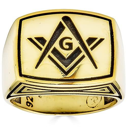 Solid 925 Sterling Silver Mens Masonic Ring - 14k Yellow Gold Finish - Plain Silver Men's Freemason Ring- Size 7-13 (11)