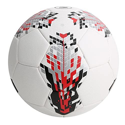 DAUERHAFT Balón de fútbol de Talla 5, fútbol a Prueba de explosiones, para una Gran hermeticidad, Duradero y Cumple con Las Diferentes Necesidades. para Juegos de fútbol para(White Red)