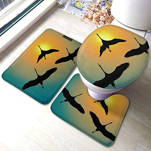 asdew987 Three Cranes Flying Towards Rising Sun - Juego de 3 alfombrillas de baño de franela suave + alfombra de contorno + tapa de inodoro con almohadilla antideslizante de respaldo de 15.7' 23.6'