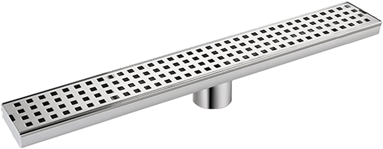 23.6 Inch Linear Shower Drain Standard Grate, Desfau Grid shower drain, Brushed Stainless Bathroom Shower Drain