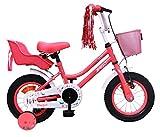 Amigo Magic - Kinderfahrrad für Mädchen - 12 Zoll - mit Handbremse, Rücktritt, Korb, Puppensitz und Stützräder - ab 3-4 Jahre - Rosa