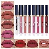 8pcs Matte Liquid Lipstick with Lip Plumper...