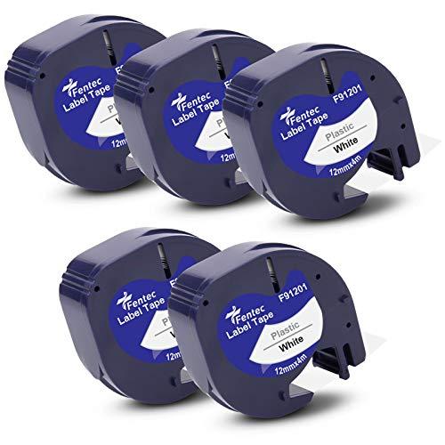 Fentec 5x Reemplazo de Cinta de Etiquetas Plástico Compatible para Dymo LetraTag 91201 91221 S0721610 para Dymo S0883980 LT-100H LT-100T LT100-H LT-110T QX-50 XR XM 2000, 12mm x 4m Negro sobre Blanco