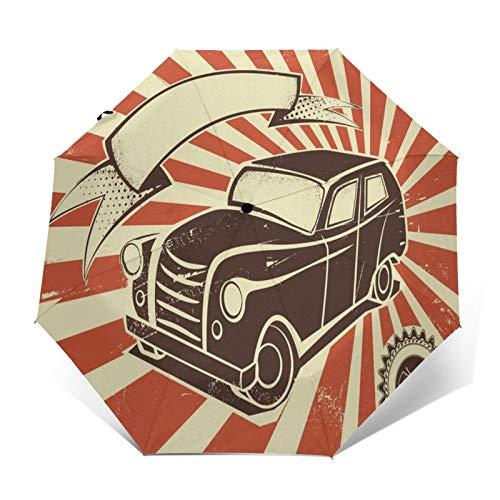 TISAGUER Paraguas automático de Apertura/Cierre,Estilo de Cartel Retro,Coche de época sobre Fondo Beige y Naranja,Paraguas pequeño Plegable a Prueba de Viento