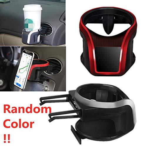 Mioke Getränkehalter Auto 2 in 1 Flaschenhalter Kaffee Handy Halterung Lüftung Multifunktion Auto Lüftungshalterung Handyhalterung (Silber)