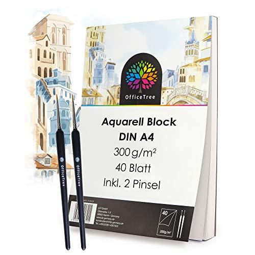 OfficeTree Papel de Acuarela A4-40 Hojas 300 gr/m2 - Bloc de Dibujo para Acuarela - Papel para Acuarelas y Pintar - Incluyendo 2 Pinceles