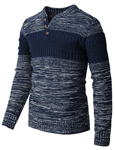 H2H Mens Casual Slim Fit Pullover Sweaters Knitted Henley Long Sleeve Thermal NAVYWHITE US M/Asia L (CMOSWL043)
