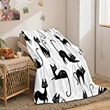 Black Cat Blanket Sherpa Throw Blanket Modern Cats Silhouettes Cartoon Animal Pet Pattern Kids Blanket Super Soft Comfy Bed Sofa Blanket Funny Cat Gifts for Her Him Girls Women(Black,Twin(60'x80'))