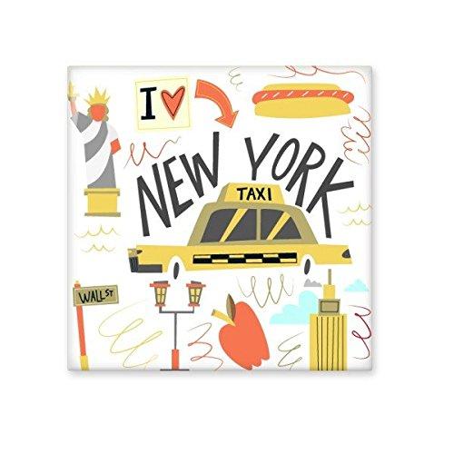 América Ciudad de Nueva York Taxi Estatua de la libertad ILLISTRATION cerámica crema decoración de decoración de azulejos para baño cocina azulejos de pared azulejos de cerámica