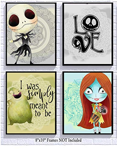 Silly Goose Gifts Nightmare Before Christmas Wanddekoration für Babyzimmer Nightmare Before Christmas 8x10in 4-teiliges Kunst-Set