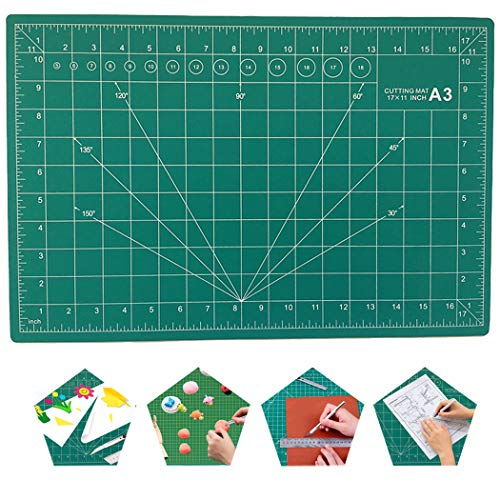Metopets Self-Healing Cutting Mat - Double Sided 5-Ply Fabric Cutting Board Rotary Cutting Mat for Sewing Craft Arts Hobby Quilting (17x11Inches, A3)
