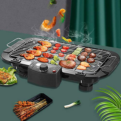 Grills - Barbacoa eléctrica con termostato y superficie antiadherente para asar alimentos...