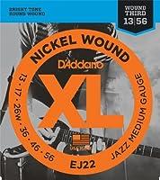 【 並行輸入品 】 D'Addario (ダダリオ) EJ22 Nickel Wound エレキギター 弦, Jazz Medium, 13-56