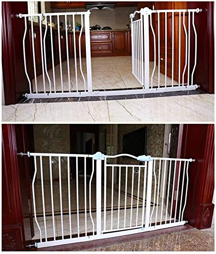 Safety Gate Guardrail Garden Door Stairs Fence Pressure Fit Safety Metal Gate Stands 76cm tall The width can be selected from 77 to 177cm Dog Gate Baby Gates with Extensions Available Ideal for Kids a