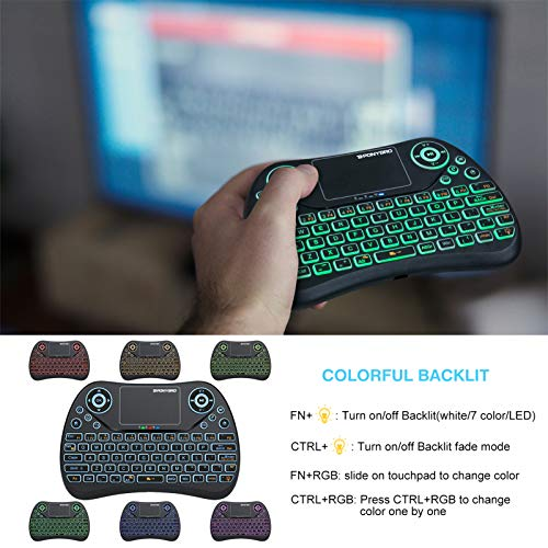 (Newest Version) PONYBRO Backlit Mini Wireless Keyboard with Touchpad Mouse Combo QWERTY Keypad,Rechargeable Handheld Keyboard Remote for Smart TV,Android TV Box,Xbox,Raspberry Pi,PC